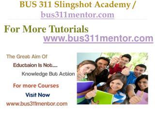 BUS 311 Slingshot Academy / bus311mentor.com