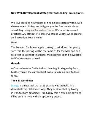 New Web Development Strategies: Font Loading, Scaling SVGs