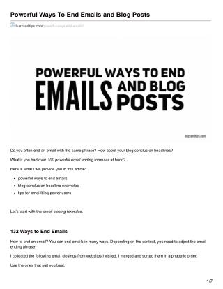 Powerful Ways To End Emails and Blog Posts