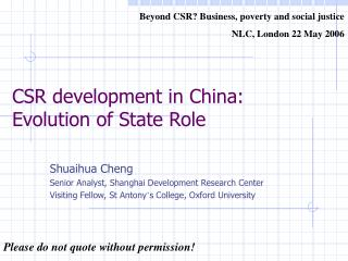 CSR development in China: Evolution of State Role