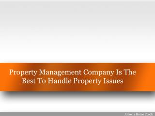 Property Management Company Is The Best To Handle Property Issues