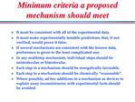 Minimum criteria a proposed mechanism should meet
