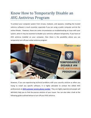 How to Temporarily Disable an AVG Antivirus Program