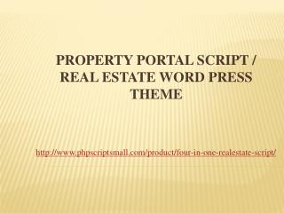 Property Portal Script / Real Estate Word Press Theme