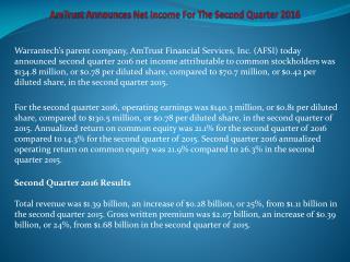 AmTrust Announces Net Income For The Second Quarter 2016