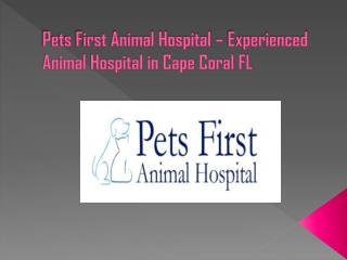 Pets First Animal Hospital – Experienced Animal Hospital in Cape Coral FL