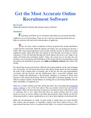 Get the Most Accurate Online Recruitment Software