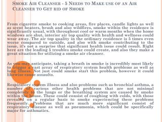 Smoke Air Cleanser - 5 Needs to Make use of an Air Cleanser to Get rid of Smoke