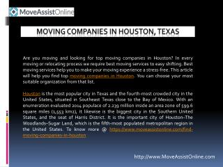 Searching for Top Moving Companies in Houston, Texas?