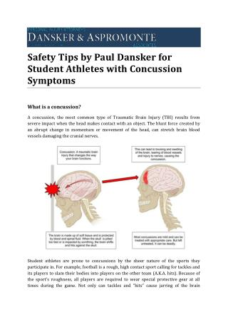 Safety Tips by Paul Dansker for Student Athletes with Concussion Symptoms