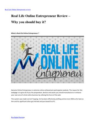Real Life Online Entrepreneur Review – Why you should buy it?