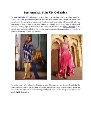 Best Anarkali Suits UK Collection