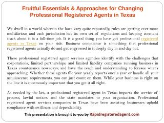 Fruitful Essentials & Approaches for Changing Professional Registered Agents in Texas