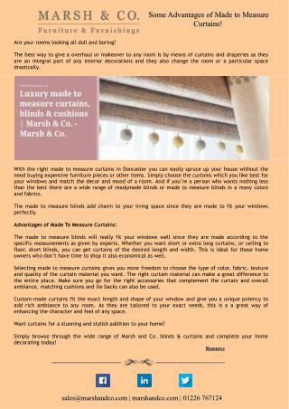Some Advantages of Made to Measure Curtains!