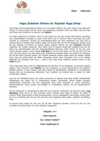 Yoga Zubehör Online im Tripada Yoga Shop