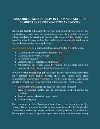 Cross Dock Facility Helps In The Manufacturing Business By Preserving Time And Money