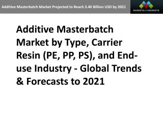 Additive Masterbatch Market Projected to Reach 3.40 Billion USD by 2021