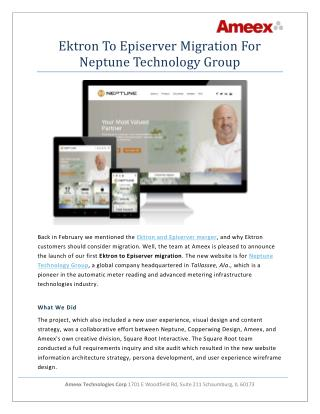 Ektron to Episerver Migration for Neptune Technology Group