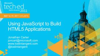 Using JavaScript to Build HTML5 Applications