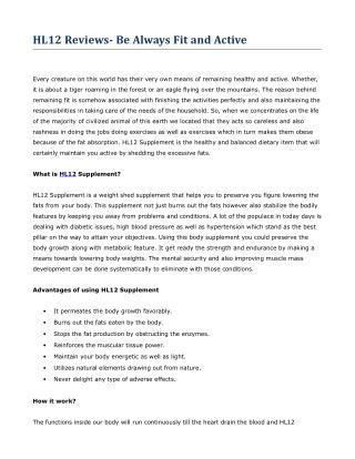 HL12 – 100% Safe and Effective Diabetic Formula