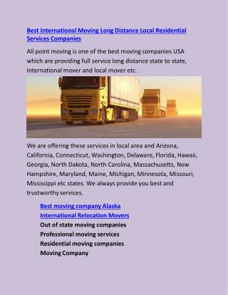 Best International Moving Long Distance Local Residential Services Companies