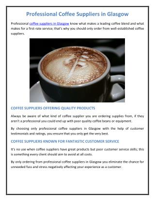Professional Coffee Suppliers in Glasgow