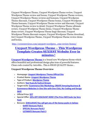 Unyport Wordpress Theme Review and Premium $14,700 Bonus