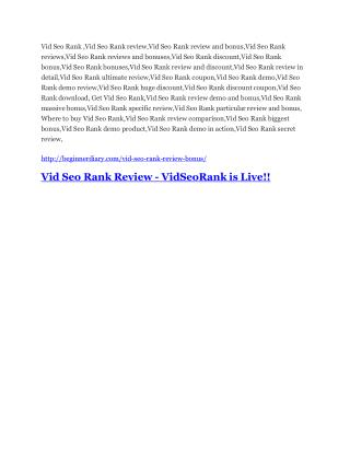 Vid Seo Rank Detail Review and Vid Seo Rank $22,700 Bonus