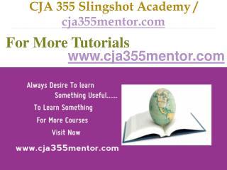 CJA 355 Slingshot Academy / cja355mentor.com