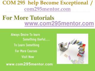 COM 295 help Become Exceptional  / com295mentor.com