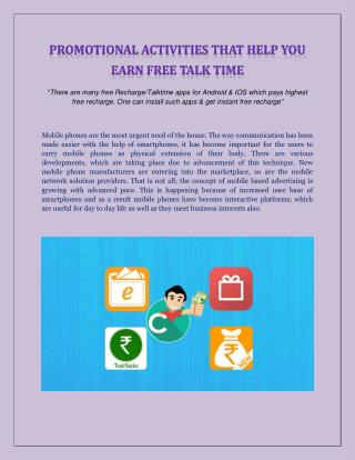 Promotional Activities that Help You Earn Free Talk Time