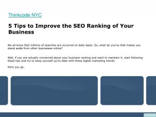 5 Tips to Improve the SEO Ranking of Your Business