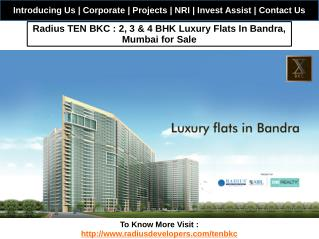 Radius TEN BKC : 2, 3 & 4 BHK Luxury Flats In Bandra Mumbai for Sale
