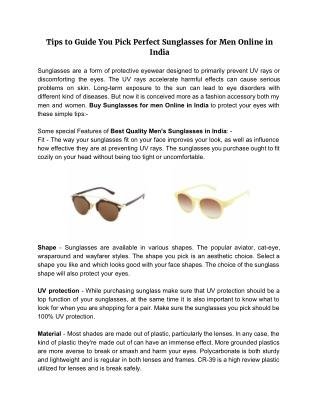 Tips to Guide You Pick Perfect Sunglasses for Men Online in India