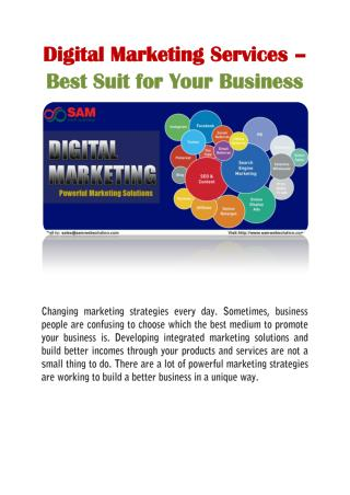 Digital Marketing Services � Best Suit for Your Business