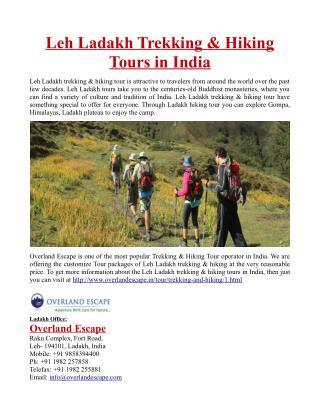 Leh Ladakh Trekking & Hiking Tours in India