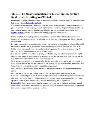Best Real Estate Investing Tips at Jagatdas Anthathi