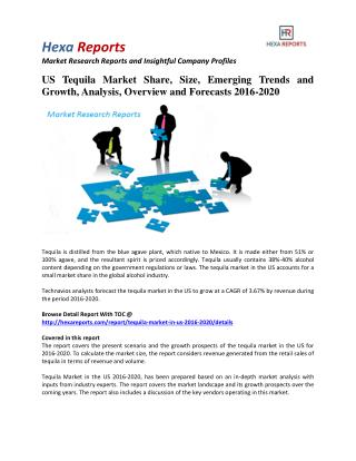 US Tequila Market Insights | 2016 Industry Report By Hexa Reports