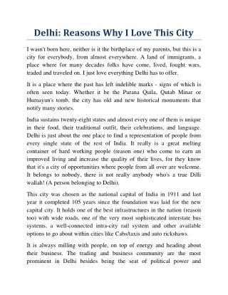 Delhi: Reasons Why I Love This City