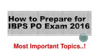 IBPS PO Important Topics