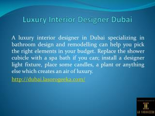 Luxury Interior Designer Dubai