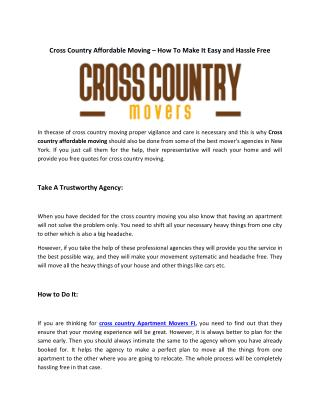 Cross Country Movers Fl