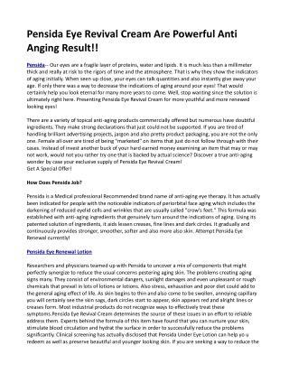 Pensida Eye Revival Cream Are Powerful Anti Anging Result!!