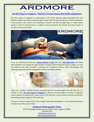 Key Hole Surgery In Singapore – Effective In Various Diseases And Health Complications