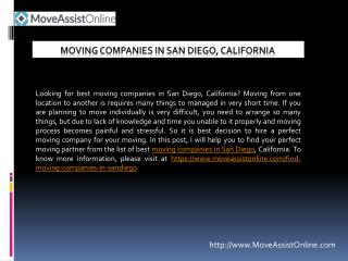 Top Moving Companies in San Diego, California