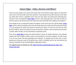 James Elgar - Sales, Service and More!