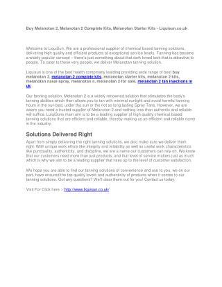 Buy Melanotan 2, Melanotan 2 Complete Kits, Melanotan Starter Kits - Liquisun.co.uk