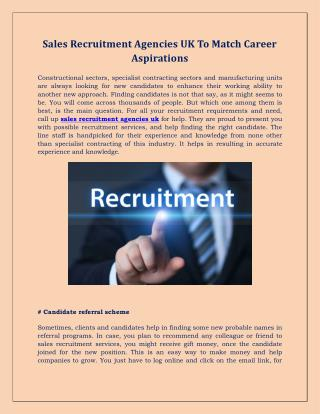 Sales Recruitment Agencies UK To Match Career Aspirations