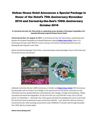 Hofsas House Hotel Announces a Special Package in Honor of the Hotel's 70th Anniversary