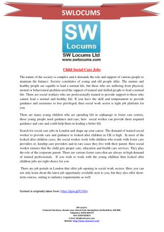 Child Social Care Jobs
